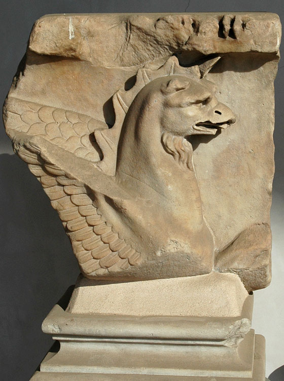 Griffin. Fragment of a frieze. Luni marble. 2nd century CE. Rome, Roman National Museum, Baths of Diocletian