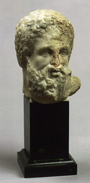 Head of Heracles. Marble. 3rd—2nd centuries BCE. Height 13 cm. Inv. No. A 577. Saint Petersburg, The State Hermitage Museum