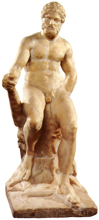 Statuette of Heracles seated. Carrara marble. Hellenistic period. Height 53 cm. Inv. No. A. 219. Saint Petersburg, The State Hermitage Museum