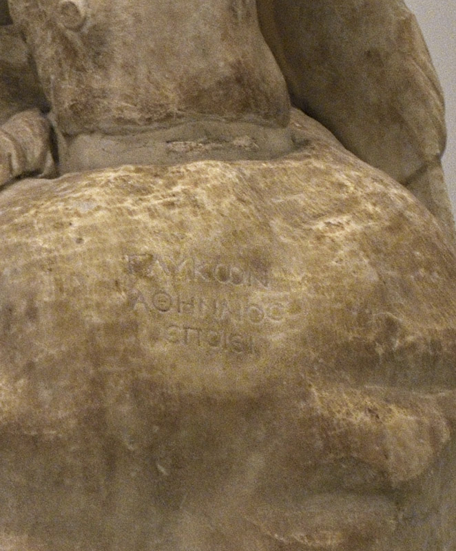 Hercules at rest (Farnese-Pitti type) — signature of the sculptor-copyist Glykon. Marble. Roman work of the late 2nd — early 3rd cent. CE after a bronze original by Lysippos of the second half of the 4th century BCE. Inv. No. 6001. Naples, National Archaeological Museum