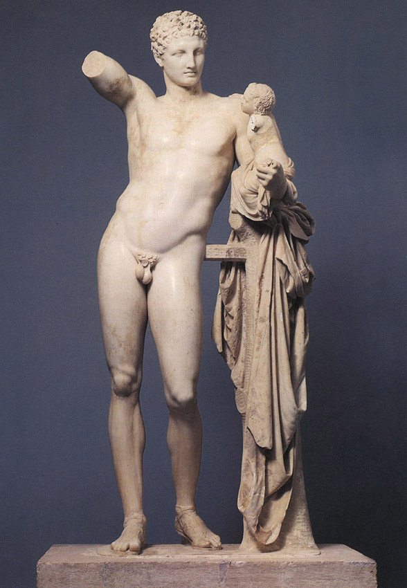 Hermes with the Infant Dionysos. Praxiteles. Marble. 330 BCE. Olympia, Archaeological Museum