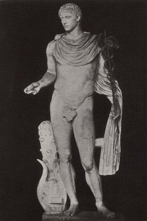 Hermes. Marble. 2nd century Roman version of a Greek original of the 5th century BCE. Rome, Vatican Museums, Pius-Clementine Museum, Gallery of statues, 5