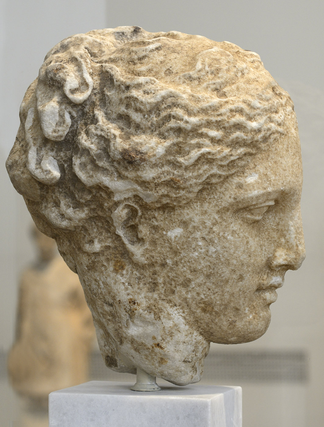 Female head (Hygieia?). Marble. Greek work, 350—325 BCE. Inv. No. 3602. Athens, National Archaeological Museum