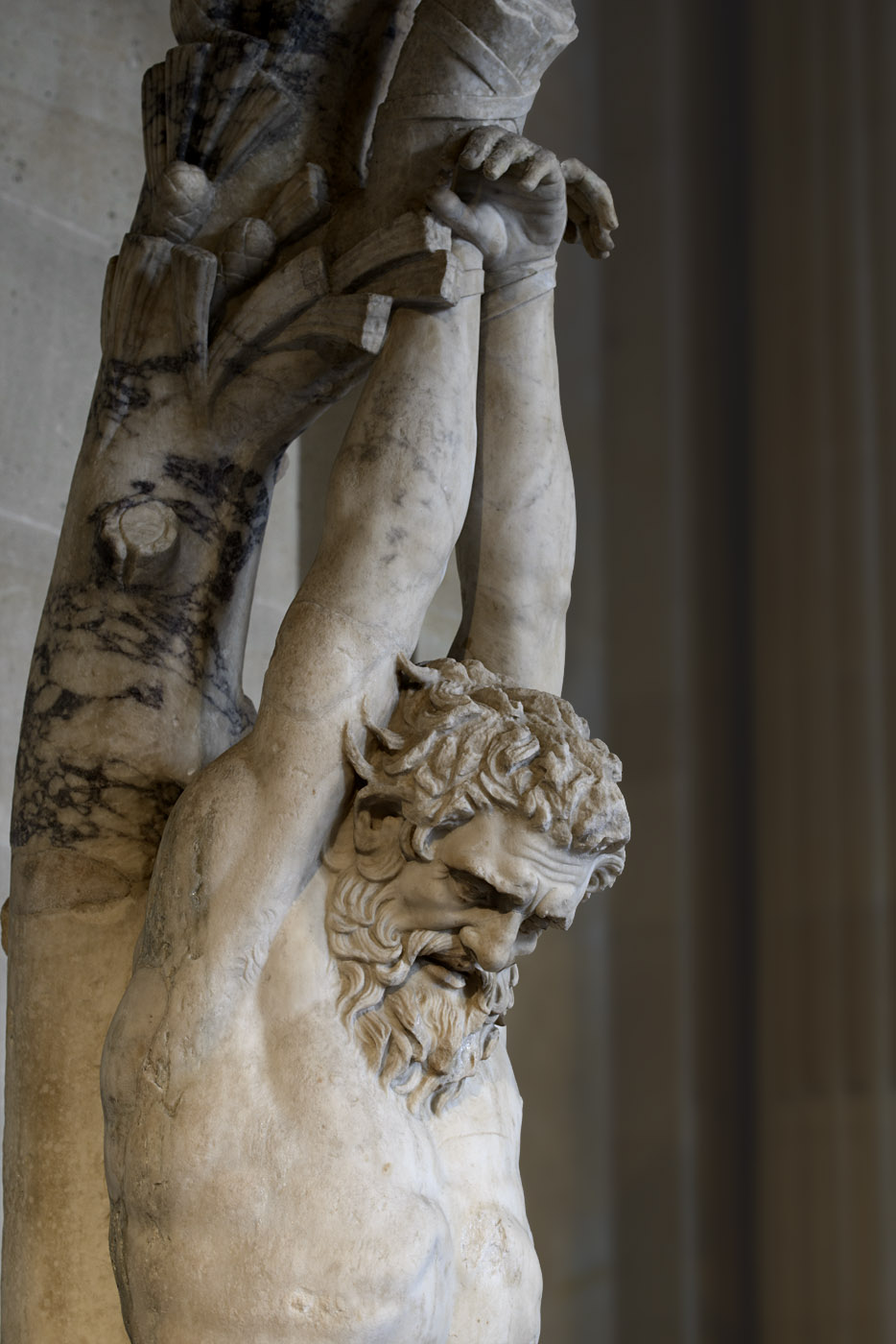 Punishment of Marsyas (close-up). Marble. Roman work of the 1st—2nd cent. CE. Inv. No. MR 267 / Ma 542. Paris, Louvre Museum