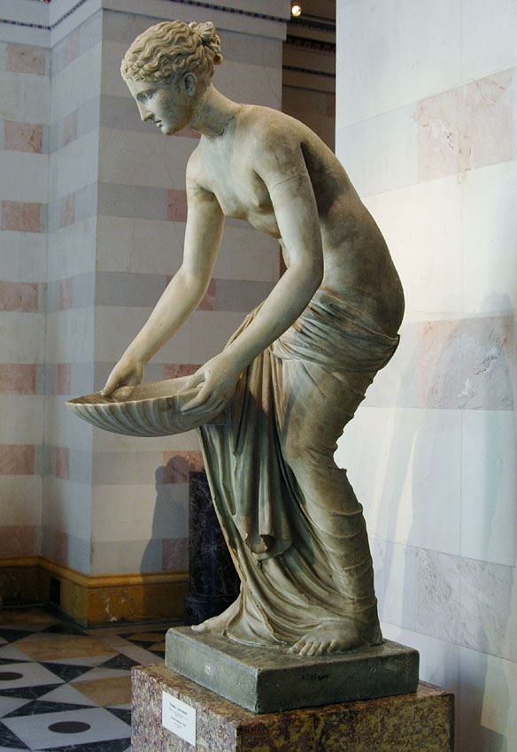 Nymph holding a shell. Fountain statue. Marble. Roman, 1st century BCE. Inv. No. A. 386. Saint Petersburg, The State Hermitage Museum