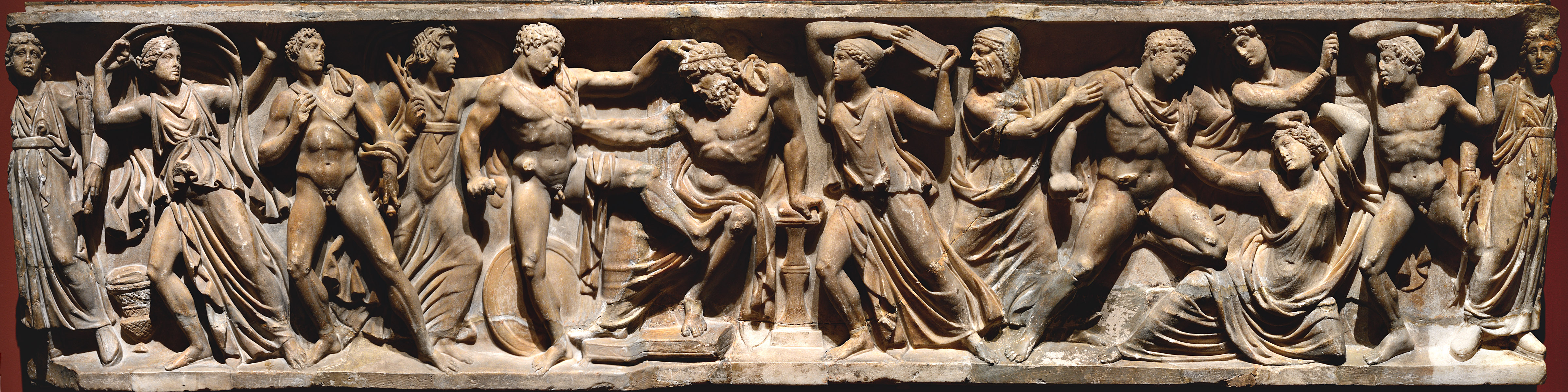Orestes slaying Aegisthus and Clytemnestra. Frontal relief of a sarcophagus. Rome. Marble. Ca. 150 CE.  Inv. No. A 461. Saint Petersburg, The State Hermitage Museum