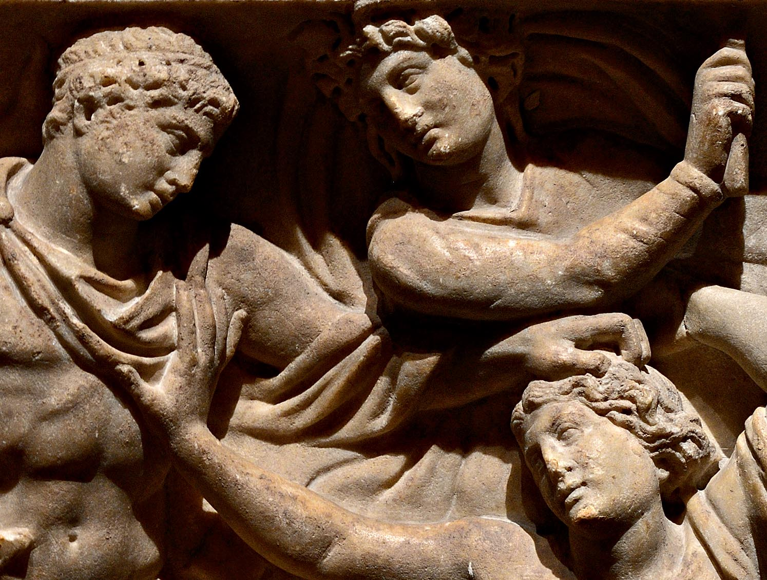 "Orestes slaying Clytemnestra (a close-up of relief ""Orestes slaying Aegisthus and Clytemnestra""). Frontal relief of a sarcophagus. Rome. Marble. Ca. 150 CE. Inv. No. A 461. Saint Petersburg, The State Hermitage Museum"