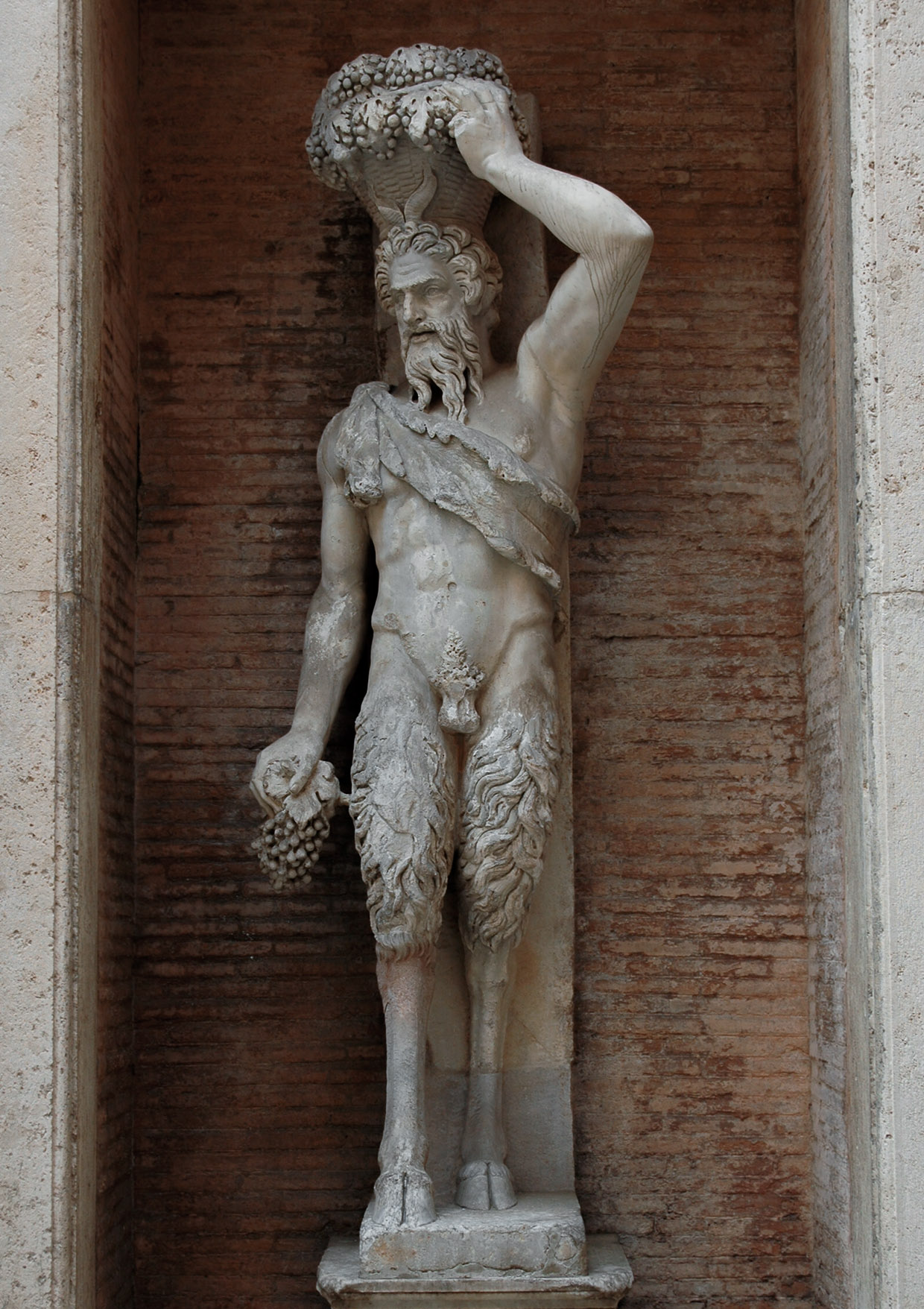 "Statue of Pan, ""Satyr della Valle."" Marble. After a Hellenistic original. Inv. No. MC4. Rome, Capitoline Museums, Palazzo Nuovo, Courtyard"
