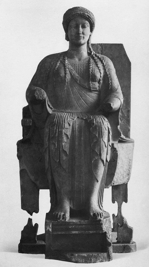 Goddess sitting on the throne (Persephone?). Parian marble. Ca. 480 BCE. Height 151 cm. Berlin, State Museums