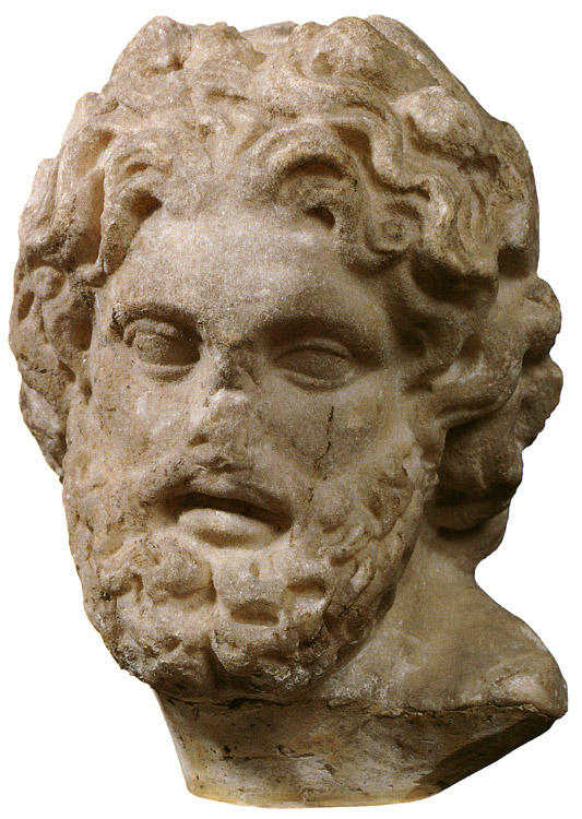 Head of Poseidon. Fine-grained Parian marble. 2nd century. Height 20.2 cm. Inv. No. A. 523. Saint Petersburg, The State Hermitage Museum