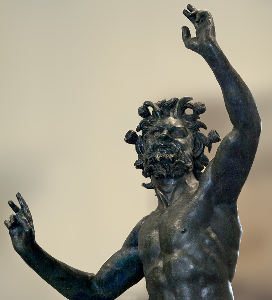 Dancing faun (close-up). Bronze. 2nd century BCE. Inv. No. 5002. Naples, National Archaeological Museum