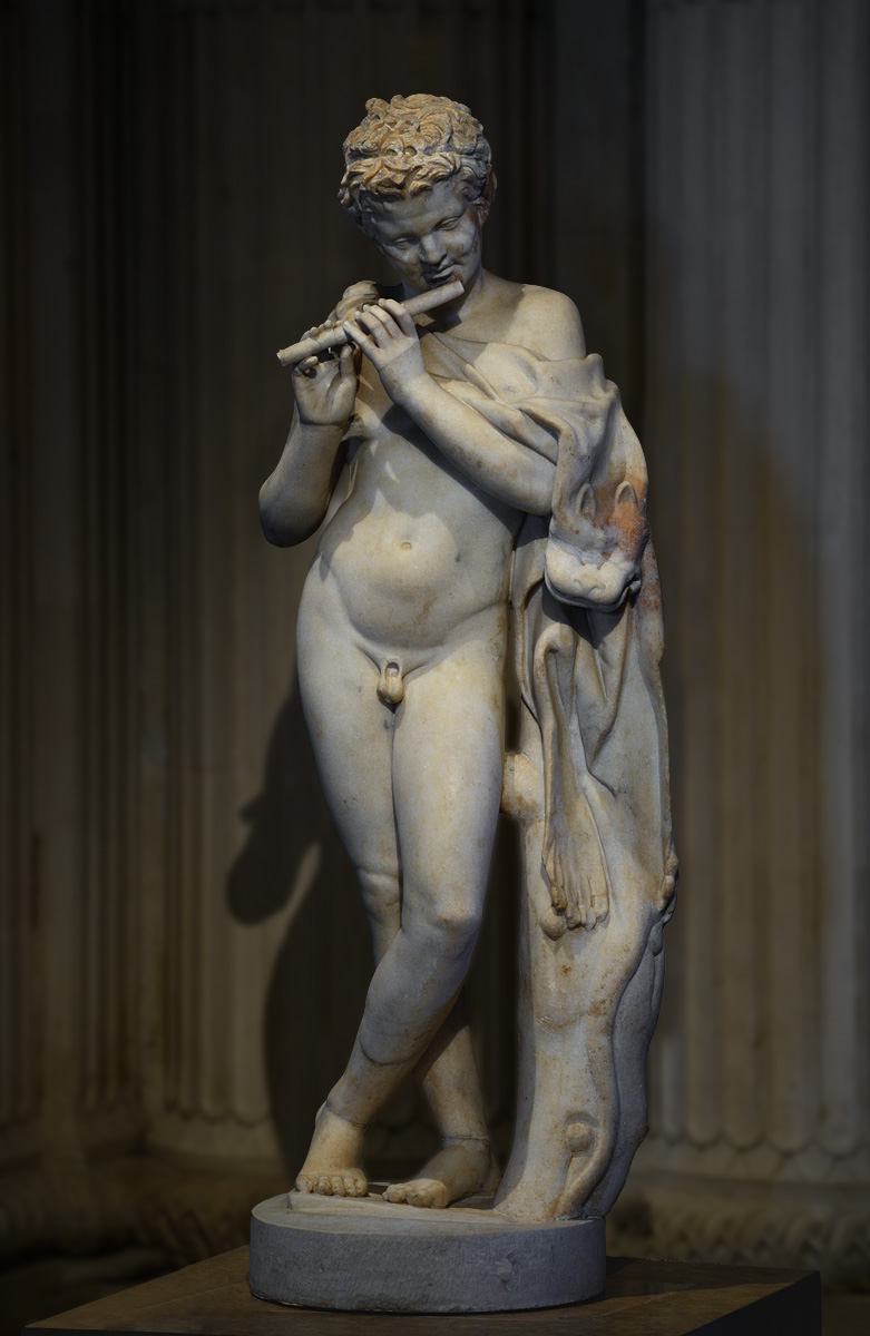 Satyr playing a flute. Parian marble. Part of a roman copy of 1st—2nd cent. CE after a Greek model of 300—380 BCE. Inv. No. MR 188 / Ma 595. Paris, Louvre Museum