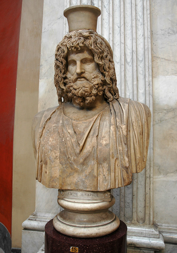 Bust of Serapis-Zeus. Marble. Roman copy. Inv. No. 245. Rome, Vatican Museums, Pius-Clementine Museum, Round Room, 15
