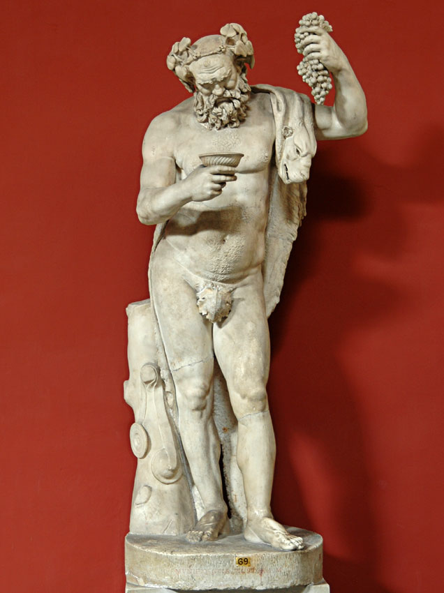 Statue of Silenus. Marble. Roman copy of the imperial era after a Hellenistic original. Inv. No. 323. Rome, Vatican Museums, Pius-Clementine Museum, Room of the Muses, 69