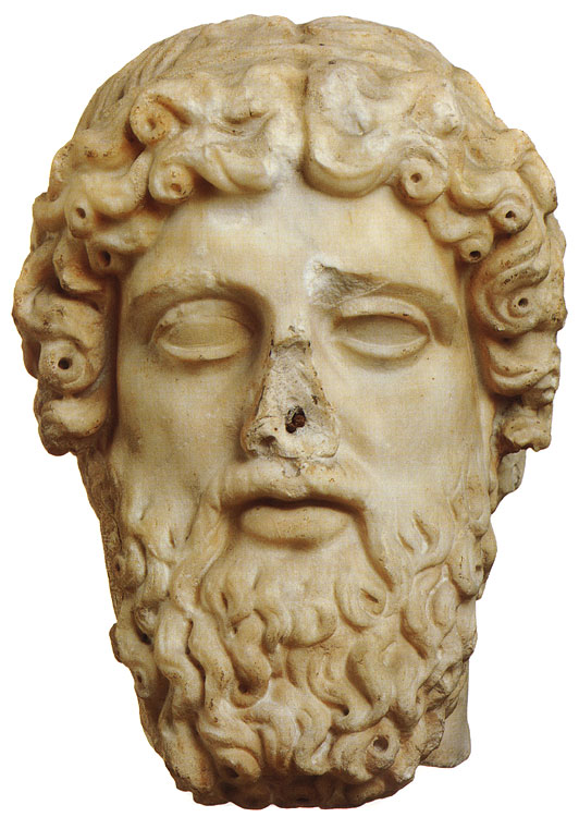 Head of Zeus. Marble. Roman copy after a Greek original of the late 5th century BCE. Height 38 cm. Inv. No. 3310. Rome, Capitoline Museums