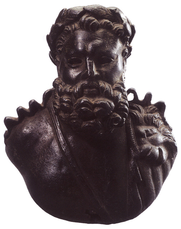 Bust of Hercules. Bronze. 2nd—3rd centuries. Dark-brown patina. Height 14 cm. Inv. No. В. 494. Saint Petersburg, The State Hermitage Museum
