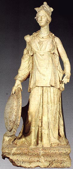 Terracotta statue, representing Minerva with the shield. Second half of the 3rd century BCE. Rome, Palatine Museum