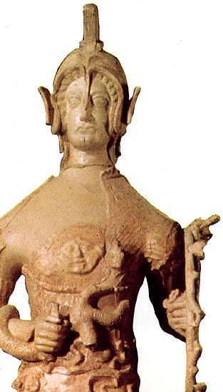 Detail of the big terracotta statue of Minerva. 4th—3rd century BCE. Pratica di Mare, Depository of University