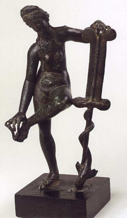 Venus. Bronze. 1st century. Roman work of the 1st century after a Greek specimen of the 2nd century BCE. Greenish-brown patina.  Inv. No. В. 1676. Saint Petersburg, The State Hermitage Museum