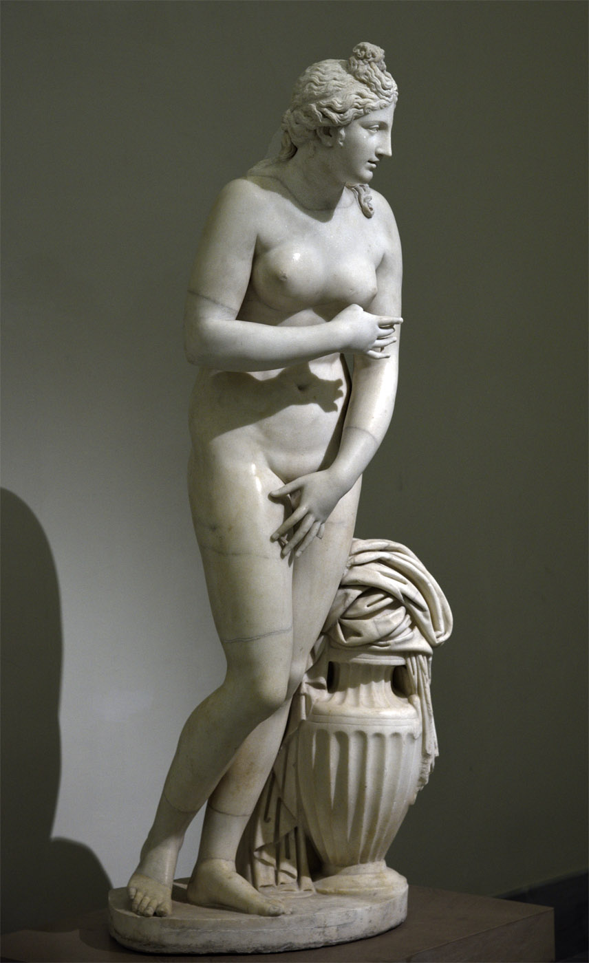 Aphrodite (Capitoline or Dresden-Capitoline type). Marble. Roman work of the 2nd century CE after a Greek model of the 3rd-2nd century BCE. Inv. No. 6286. Naples, National Archaeological Museum