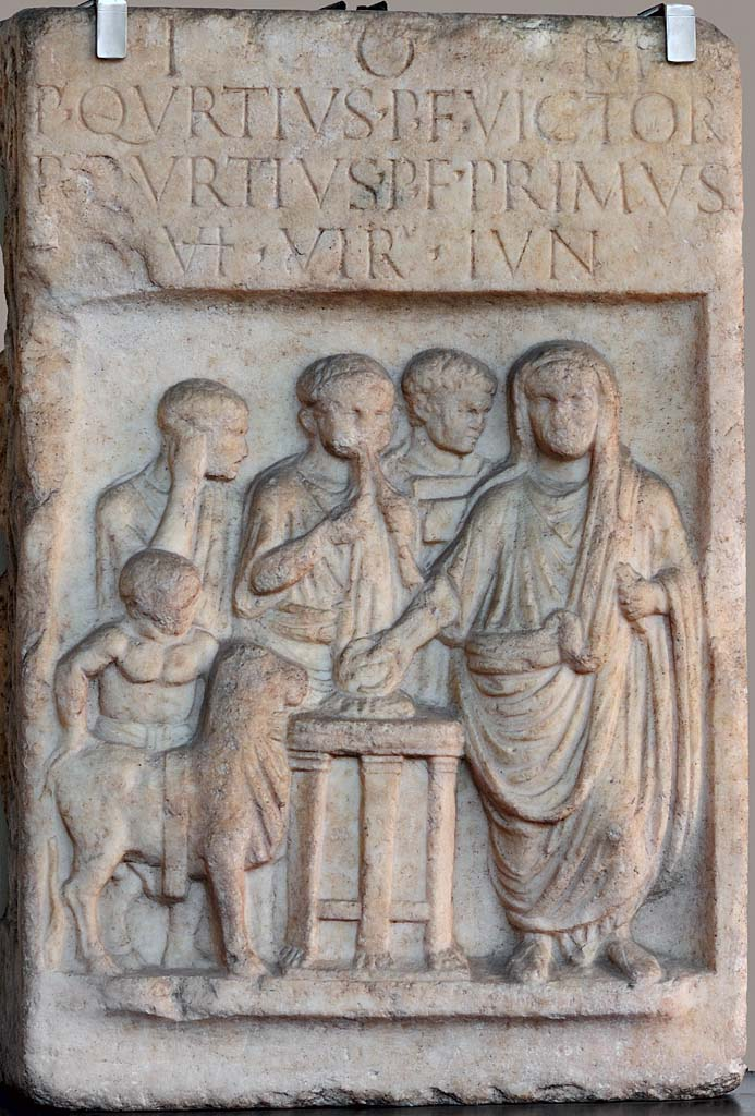 "A votive monument (so-called ""Altar of Angera""). Marble from Ornavasso-Candoglia. 41—54 CE.  Inv. No. A 0.9.6774. Milan, Civic Archaeological Museum"