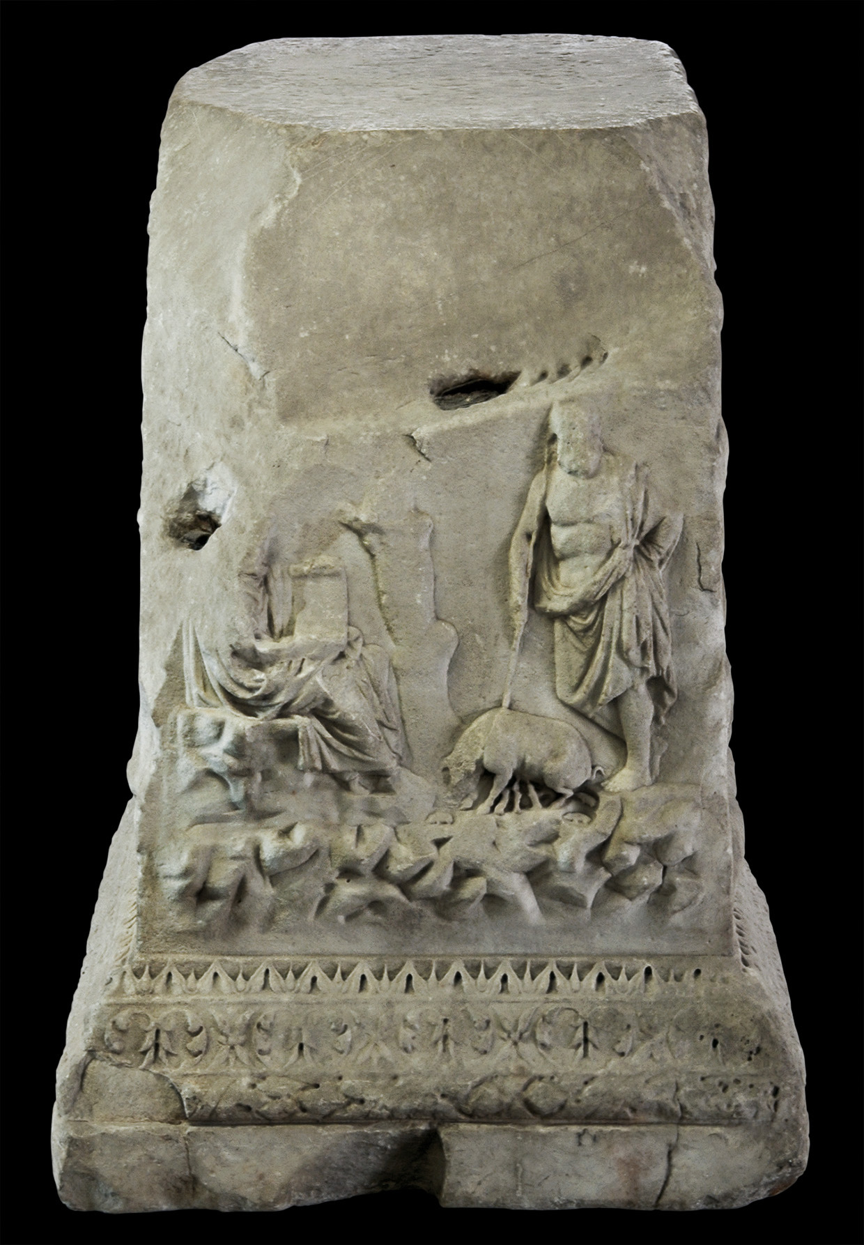 Altar of the Lares Augusti. Prodigium of the Laurentian Sow. Marble. 12—2 BCE. Inv. No. 1115. Rome, Vatican Museums, Gregorian Profane Museum