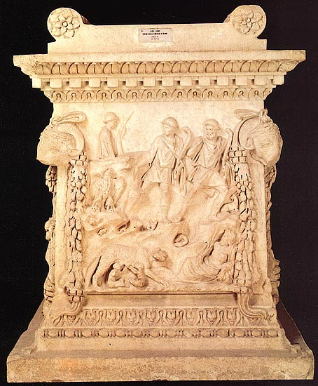Altar from Ostia with the image of Mars, Rhea Silvia and twins Romulus and Remus. Marble. 124 CE. Rome, Roman National Museum, Palazzo Massimo alle Terme