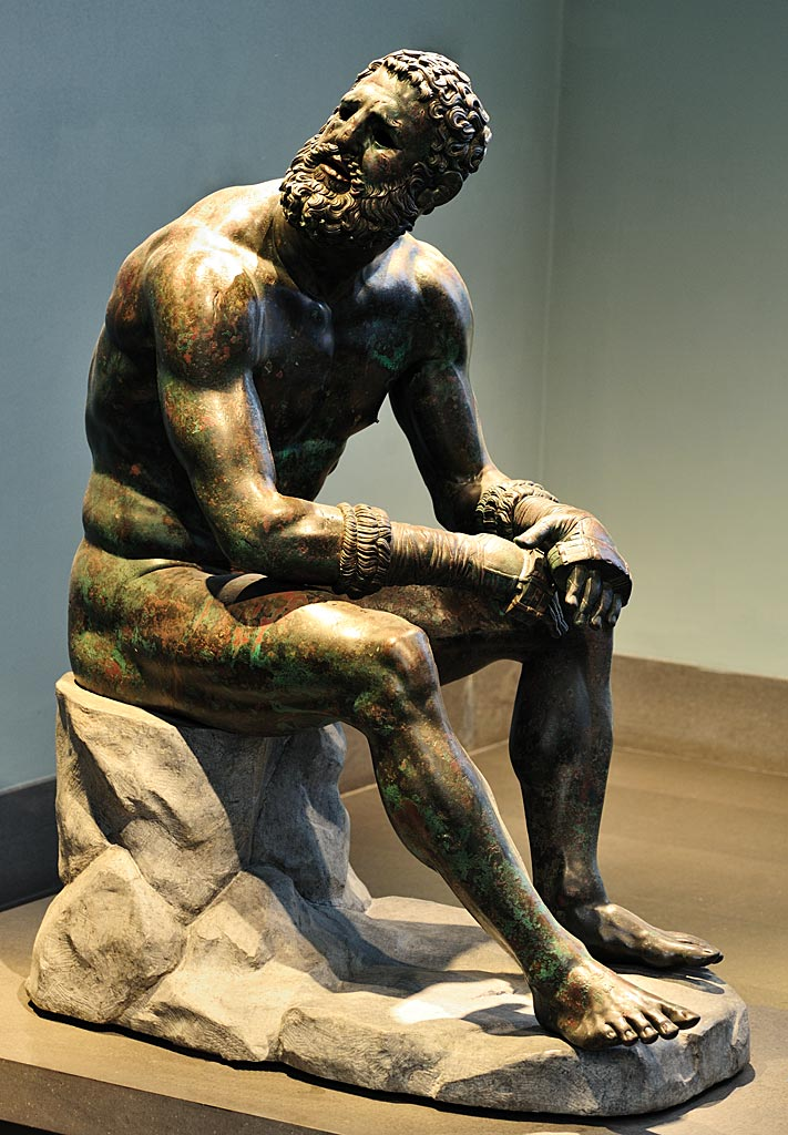 "Boxer at rest (""Boxer of Quirinal"", ""Terme Boxer""). Bronze. 1st cent. BCE. Inv. No. 1055. Rome, Roman National Museum, Palazzo Massimo alle Terme"