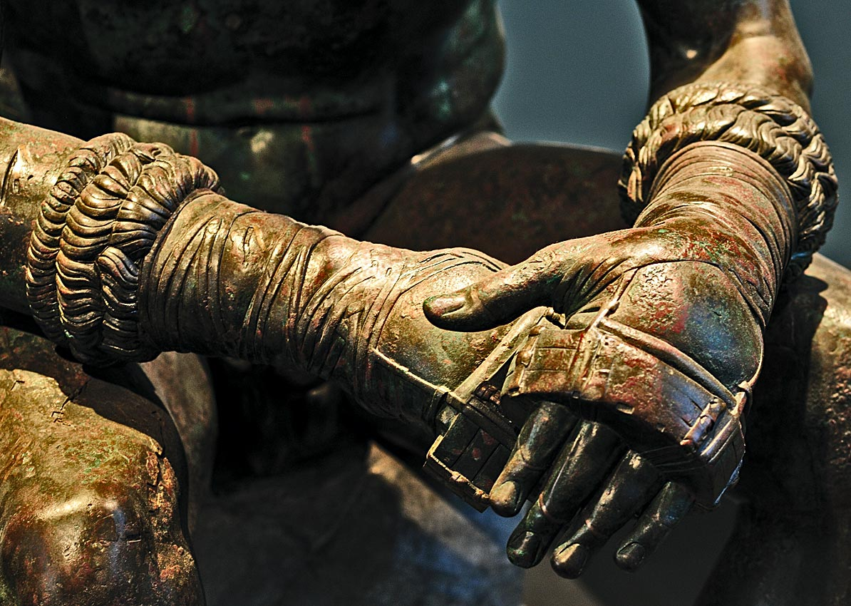 "Boxer at rest (""Boxer of Quirinal"", ""Terme Boxer""). Detail. Bronze. 1st cent. BCE. Inv. No. 1055. Rome, Roman National Museum, Palazzo Massimo alle Terme"