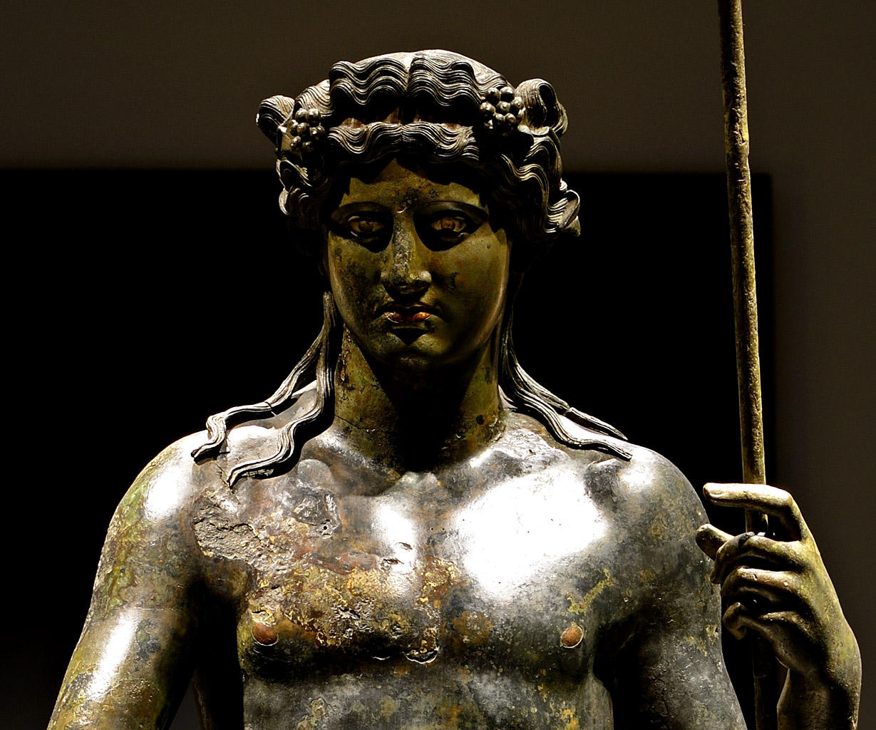 Dionysus (close-up). Bronze. 117—138 CE. Inv. No. 1060. Rome, Roman National Museum, Palazzo Massimo alle Terme