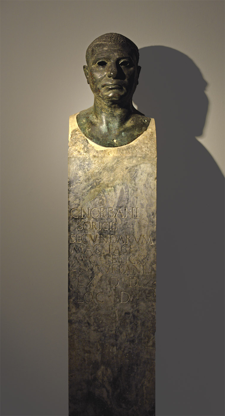 Herma with the portrait of an actor Caius Norbanus Sorex. Bronze, cipollo marble. Augustan age. Inv. No. 4991. Naples, National Archaeological Museum