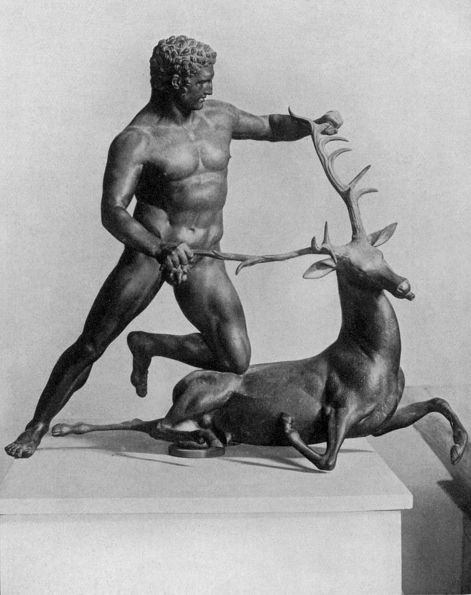 Heracles with a stag. Bronze. Palermo, Regional Archaeological Museum