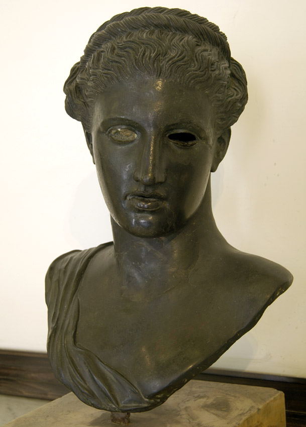 Bust of Artemis? (Bust of Sapho?). Bronze. After Greek original of the 4th century BCE.  Inv. No. 5592. Naples, National Archaeological Museum