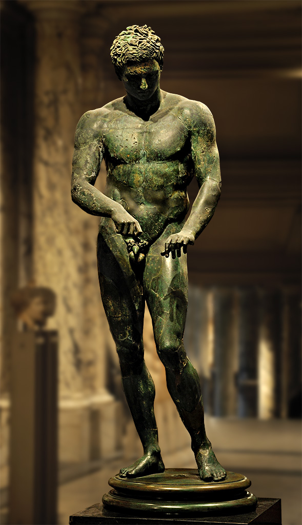 Apoxyomenos (athlete scraping his body with a strigil). Bronze. Roman copy of a bronze original by Polykleitos ca. 320 BCE. Inv. No. 129. Vienna, Ephesos Museum