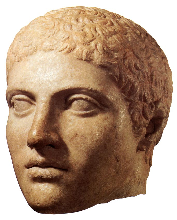 Head of a discobolos. Marble. Roman copy (third quarter of the 2nd century BC) of the Discobolos of Myron, 5th century BCE. Height: 24.3 cm. Inv. No. I.1288. Vienna, Museum of Art History