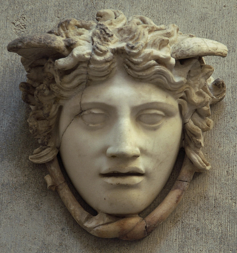 """Head of Medusa, so-called """"Rondanini Medusa."""" Marble. Roman copy after a Greek original by Phidias ca. 440 BCE, which was set on the shield of Athena Parthenos.  Inv. No. 252. Munich, Glyptotek"""