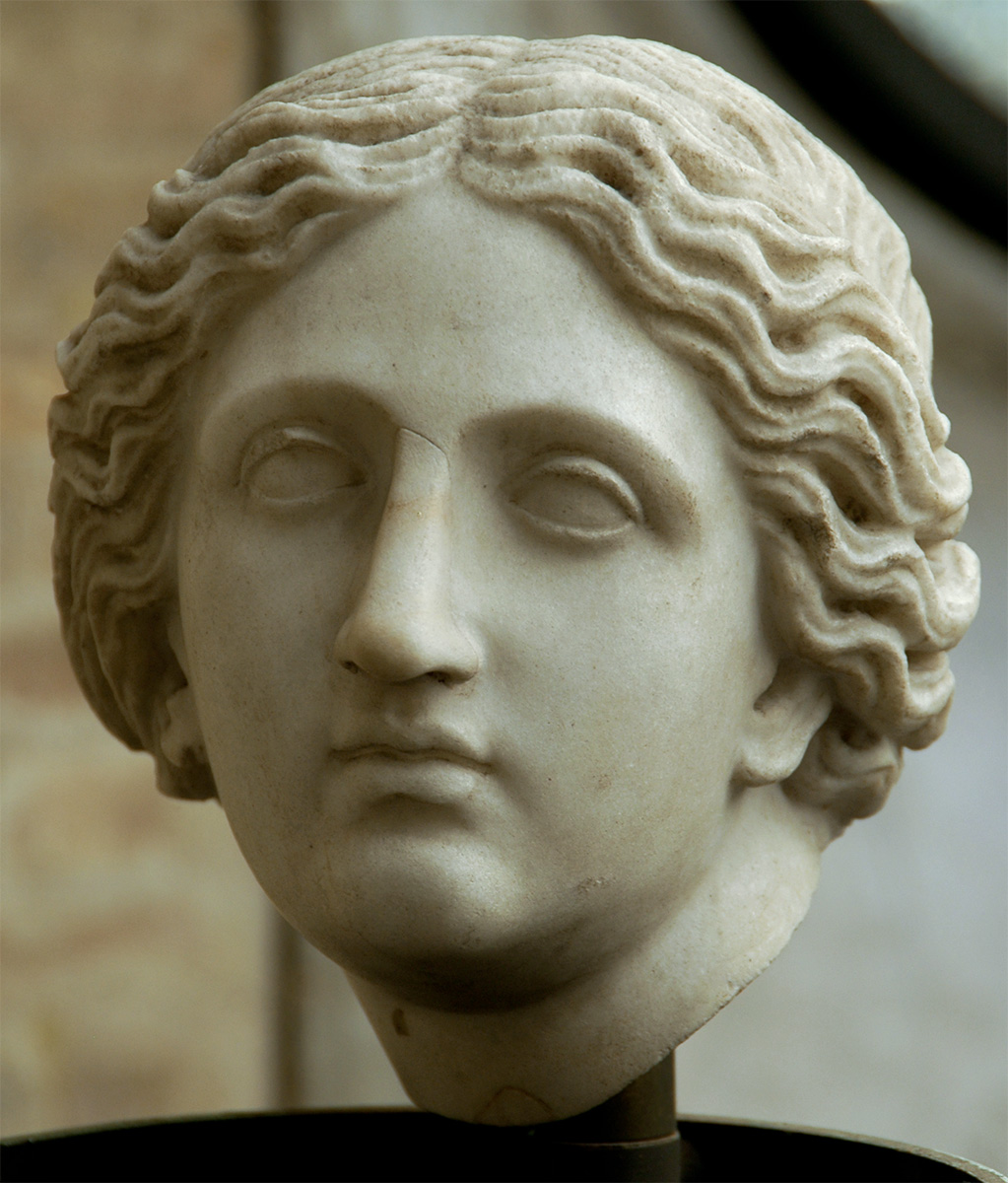 A female head. Italic marble. Roman copy of the 2nd century CE after a Greek original. Inv. No. 10286. Rome, Vatican Museums, Gregorian Profane Museum
