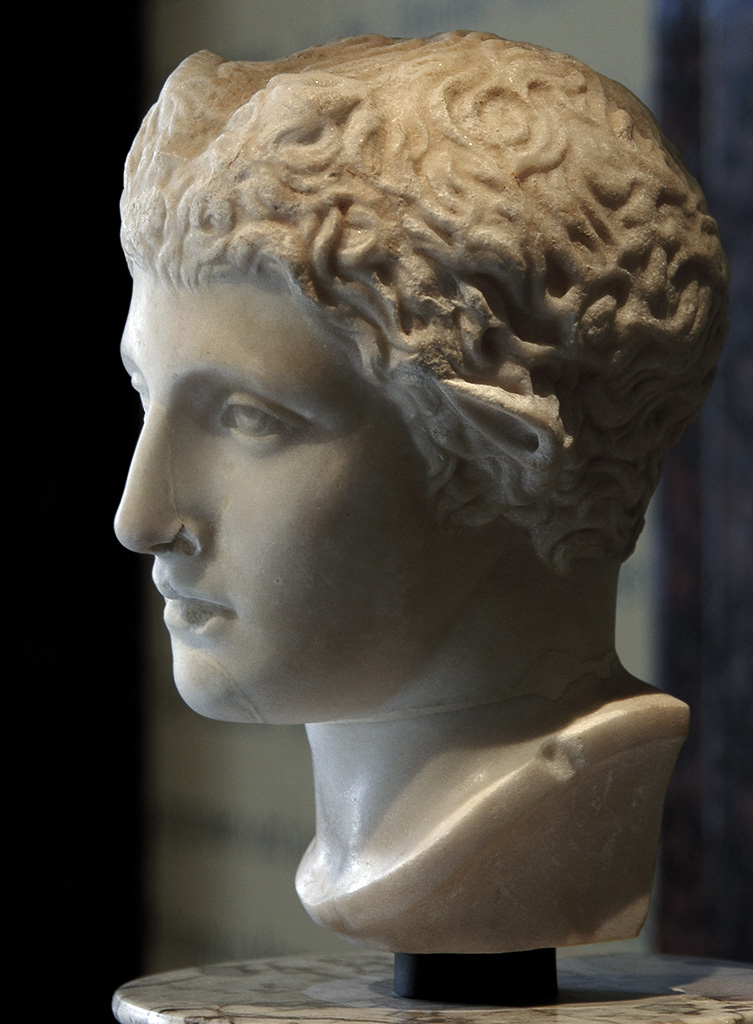 Head of Pan. Marble. Roman copy of the 2nd century CE after a Greek original by Polykleitos ca. 420 BCE. Inv. No. I. 86. Vienna, Museum of Art History