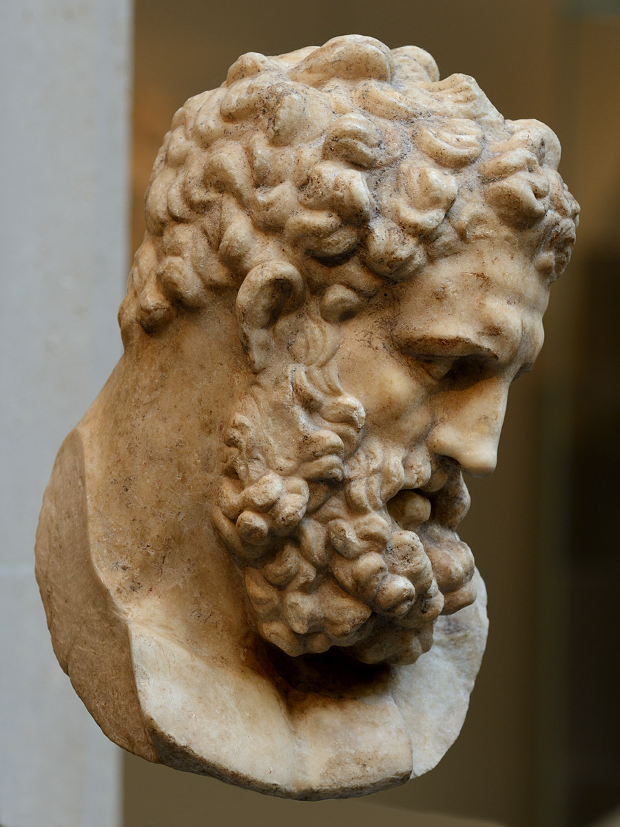 Head of Heracles. Marble. Roman copy of the 1st cent. CE after a Greek original of the second half of the 4th cent. BCE attributed to Lysippos. Inv. No. 27.122.18. New York, the Metropolitan Museum of Art