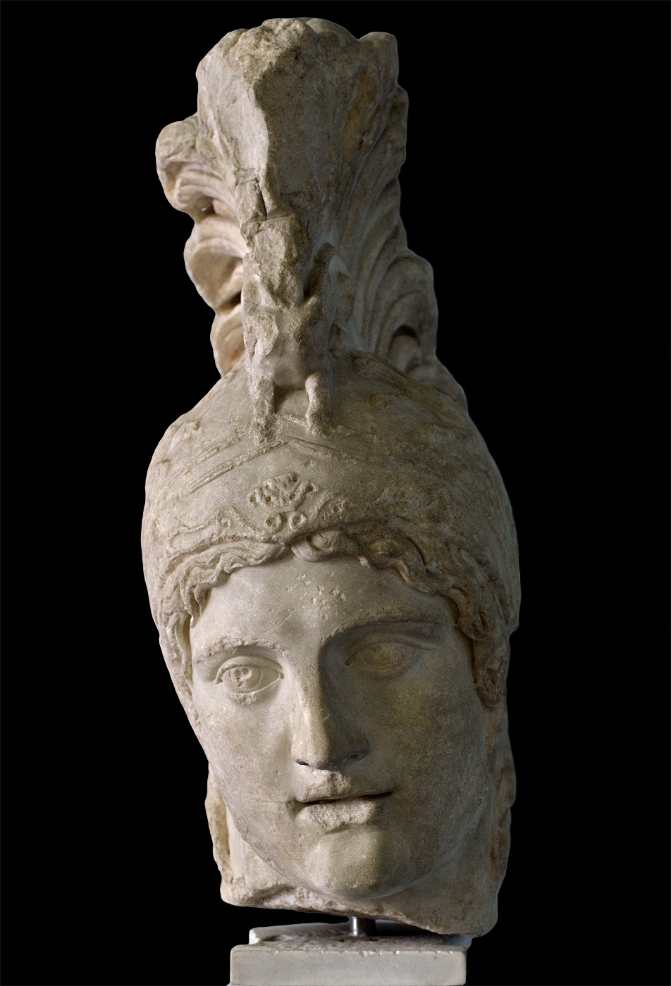 Head of Ares (the Ares Borghese type). Luna marble. Severian replica from the after a bronze Greek statue by Alkamenes casted in 420 BCE. Inv. No. MC 795. Rome, Capitoline Museums, Museum Montemartini (Centrale Montemartini), II. 68