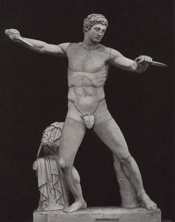 "Figure of a youth from the group ""Assassin of a tyrant"". Marble. Florence, Boboli Gardens"