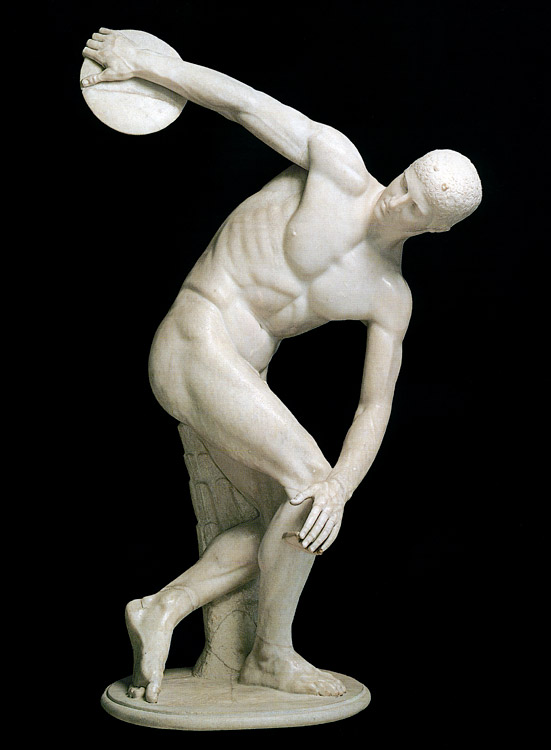 The Lancellotti Discobolus. Parian marble. Roman copy from an original by Myron of the 5th century BCE. Height 155 cm (without the modern base). Inv. No. 126371. Rome, Roman National Museum, Palazzo Massimo alle Terme
