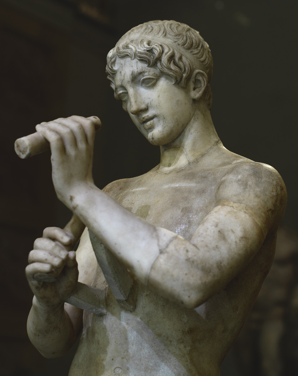 Youth playing flute (close-up). Marble. Roman copy after a Greek original of the 5th—4th cent. BCE. Inv. No. Гр 4185 / A 392. Saint Petersburg, The State Hermitage Museum