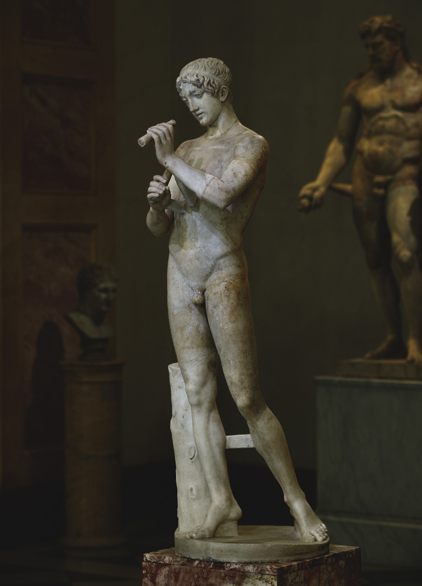 Youth playing flute. Marble. Roman copy after a Greek original of the 5th—4th cent. BCE. Inv. No. Гр 4185 / A 392. Saint Petersburg, The State Hermitage Museum