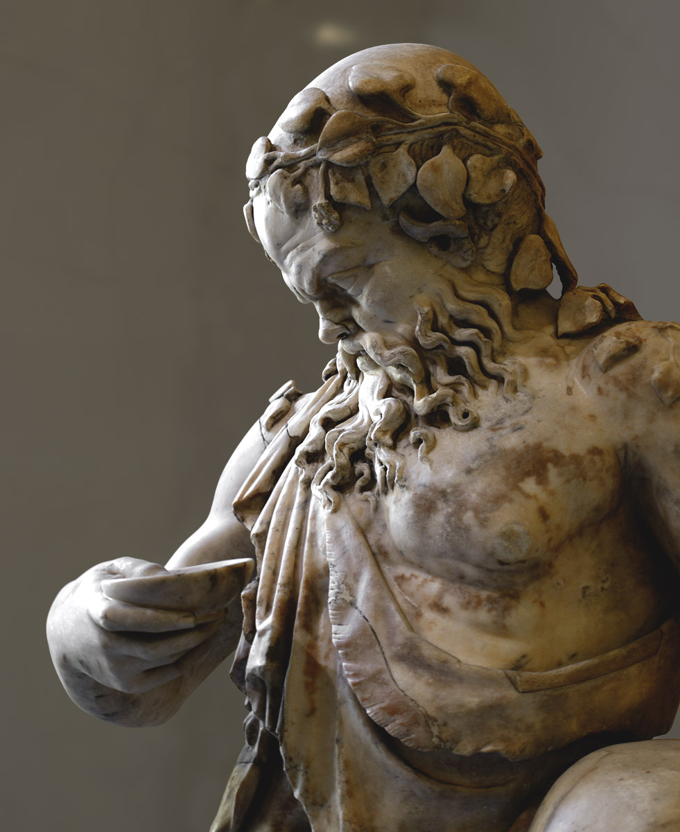 Drunken Silenus (close-up). Marble. Roman copy of the 2nd cent. CE after a Greek original of the 4th—3rd cent. BCE. Inv. No. Гр. 3063 / A. 159. Saint Petersburg, The State Hermitage Museum