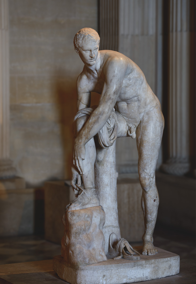 """Hermes fastening his sandal, so-called """"Cincinnatus."""" Pentelic marble. Roman copy of the 2nd cent. CE after a Greek original by Lysippos of the 4th century BCE. Inv. No. MR 238 / Ma 83. Paris, Louvre Museum"""