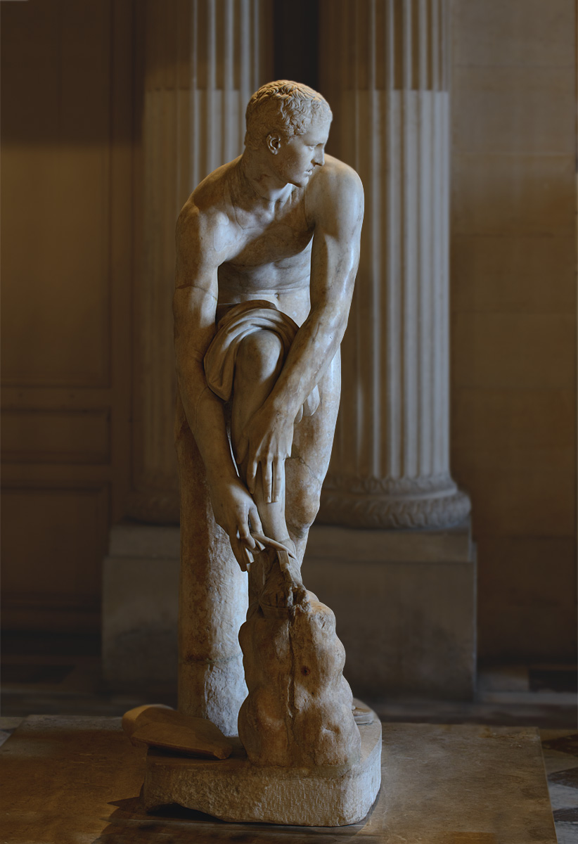 "Hermes fastening his sandal, so-called ""Cincinnatus."" Pentelic marble. Roman copy of the 2nd cent. CE after a Greek original by Lysippos of the 4th century BCE. Inv. No. MR 238 / Ma 83. Paris, Louvre Museum"