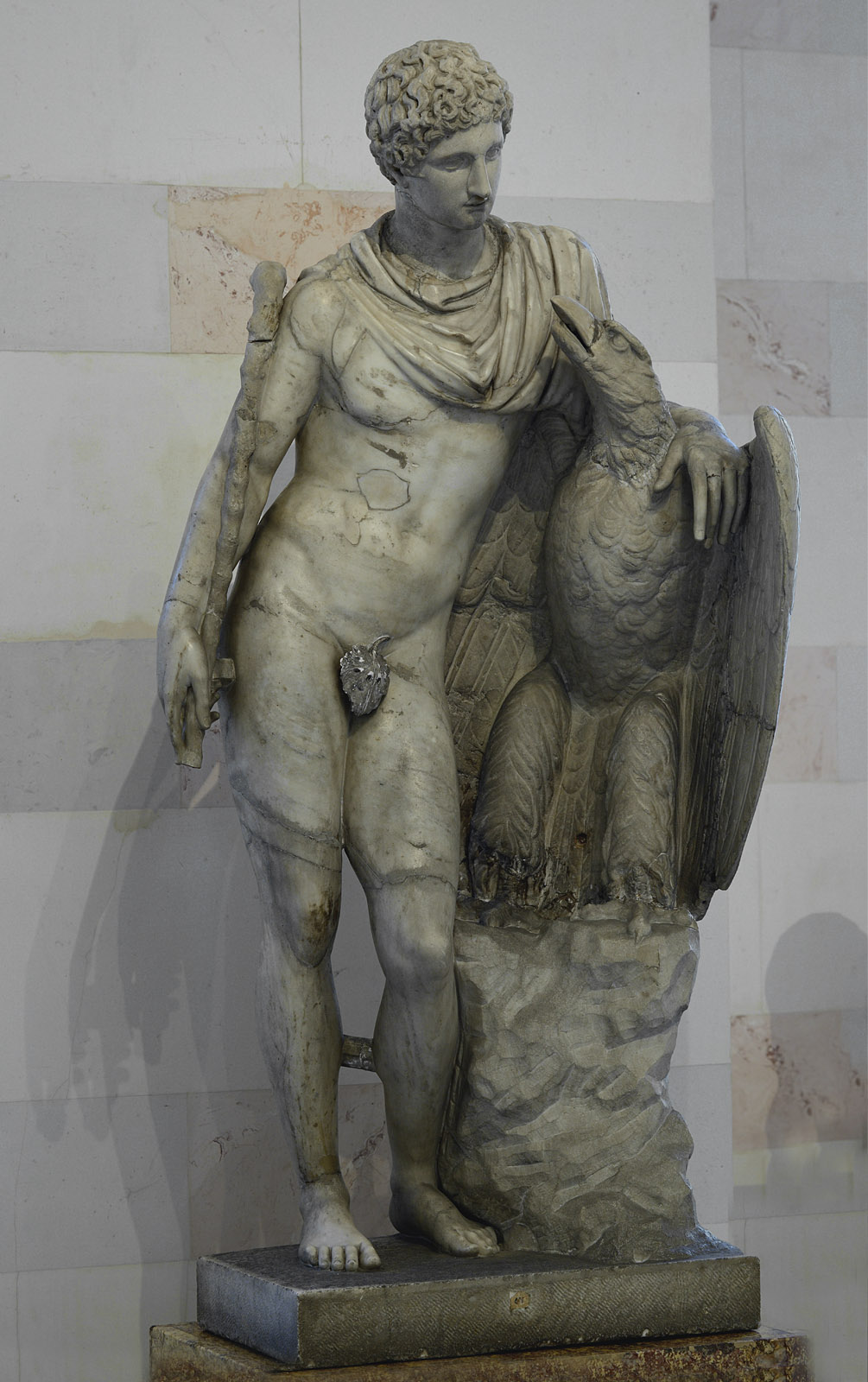 Ganymede and the Eagle. Marble. Roman copy of the 2nd cent. CE after a Greek original from the Praxiteles school, 3rd century BCE. H. 160 cm. Inv. No. A 950. Saint Petersburg, The State Hermitage Museum