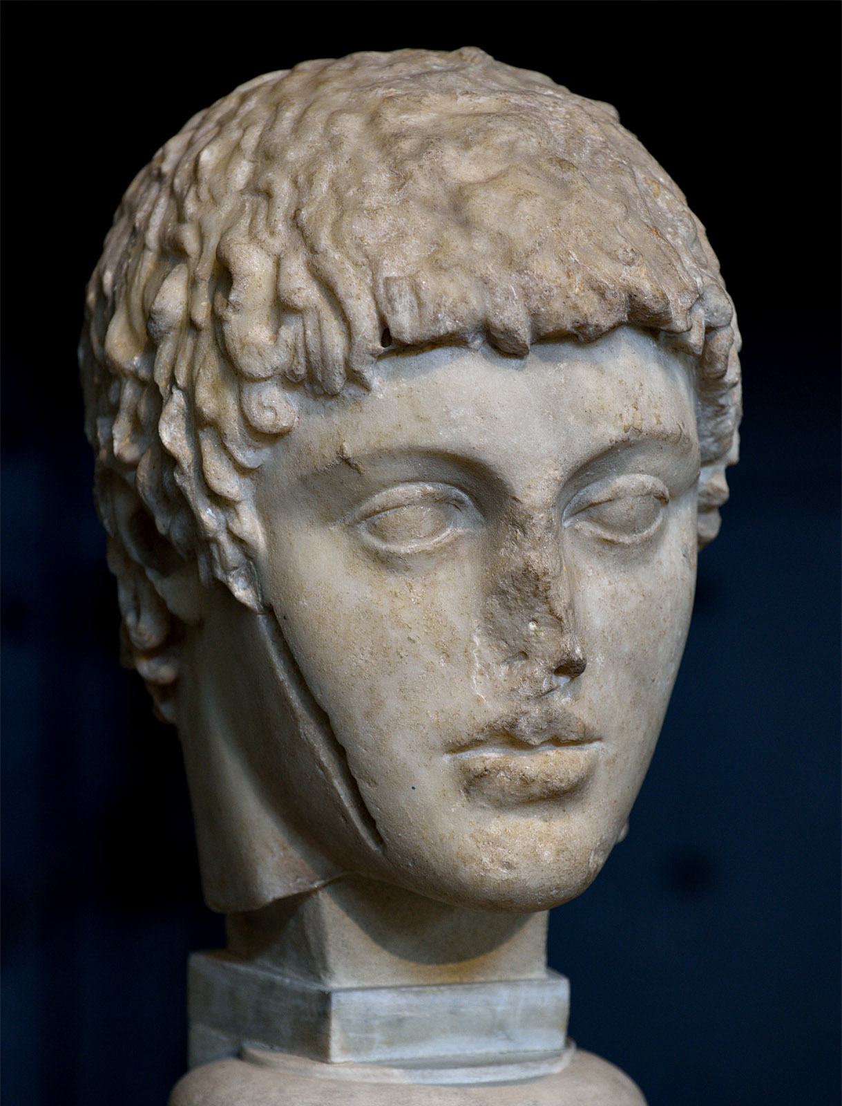 Head of Harmodius (fragment of а statuary group of the Tyrannicides). Penthelic marble. Roman copy after a Kritios and Nesiotes model of 475—465 BCE. Inv. Nos. MC 1864. Rome, Capitoline Museums, Museum Montemartini (Centrale Montemartini), II. 24