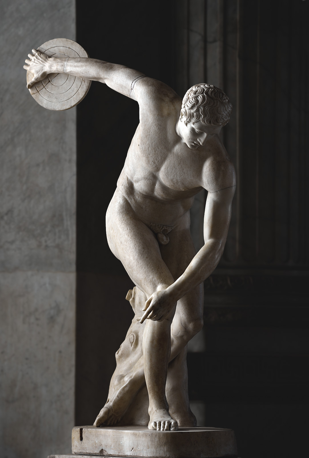 Discobolus. Marble. Roman copy of a bronze Greek original by Myron (c. 460 BCE). Inv. No. 2349. Rome, Vatican Museums, Pius-Clementine Museum, Room of the Biga, 21